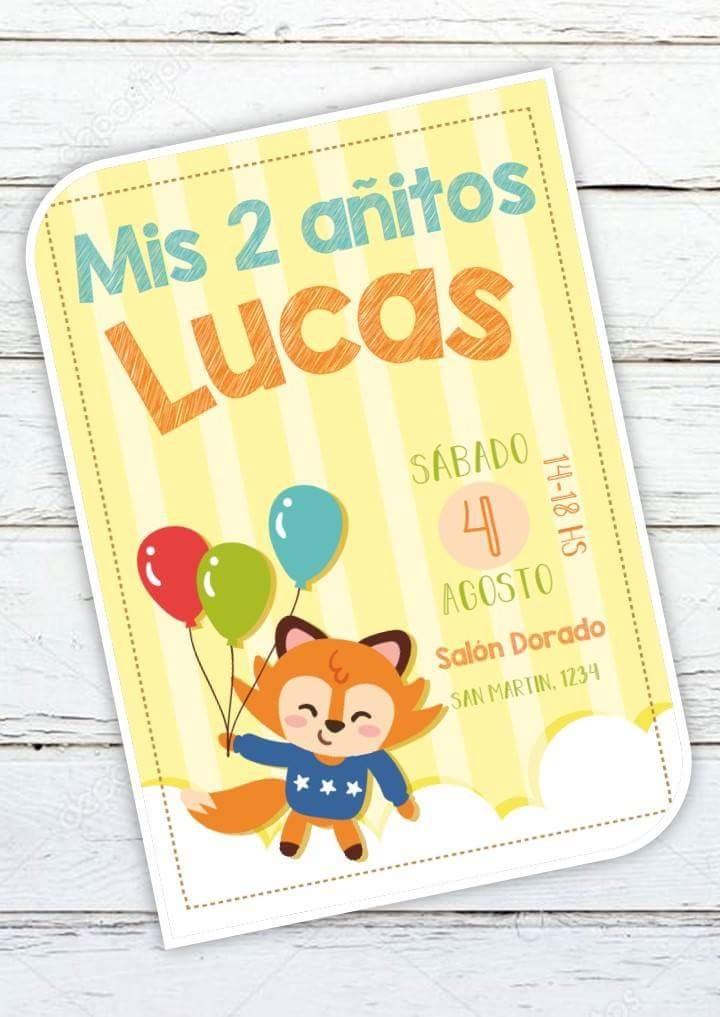 Tarjeta Invitacion Infantil Globo Zorro Pajarito