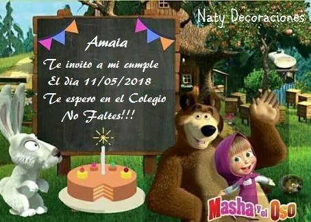 Tarjeta Invitación Masha Y El Oso Modelo 3