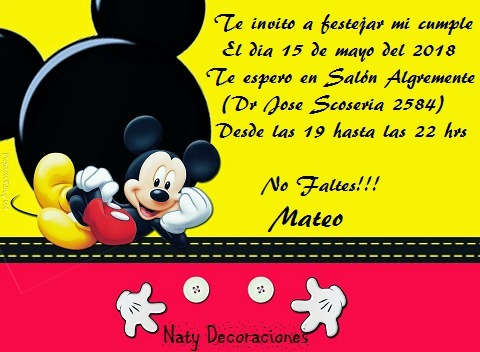 Tarjeta Invitacion Mickey