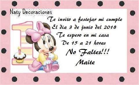 Tarjeta Invitacion Minnie Bebe Modelo 2