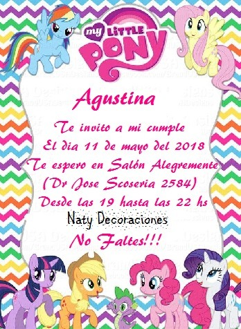 Tarjeta Invitacion My Little Pony