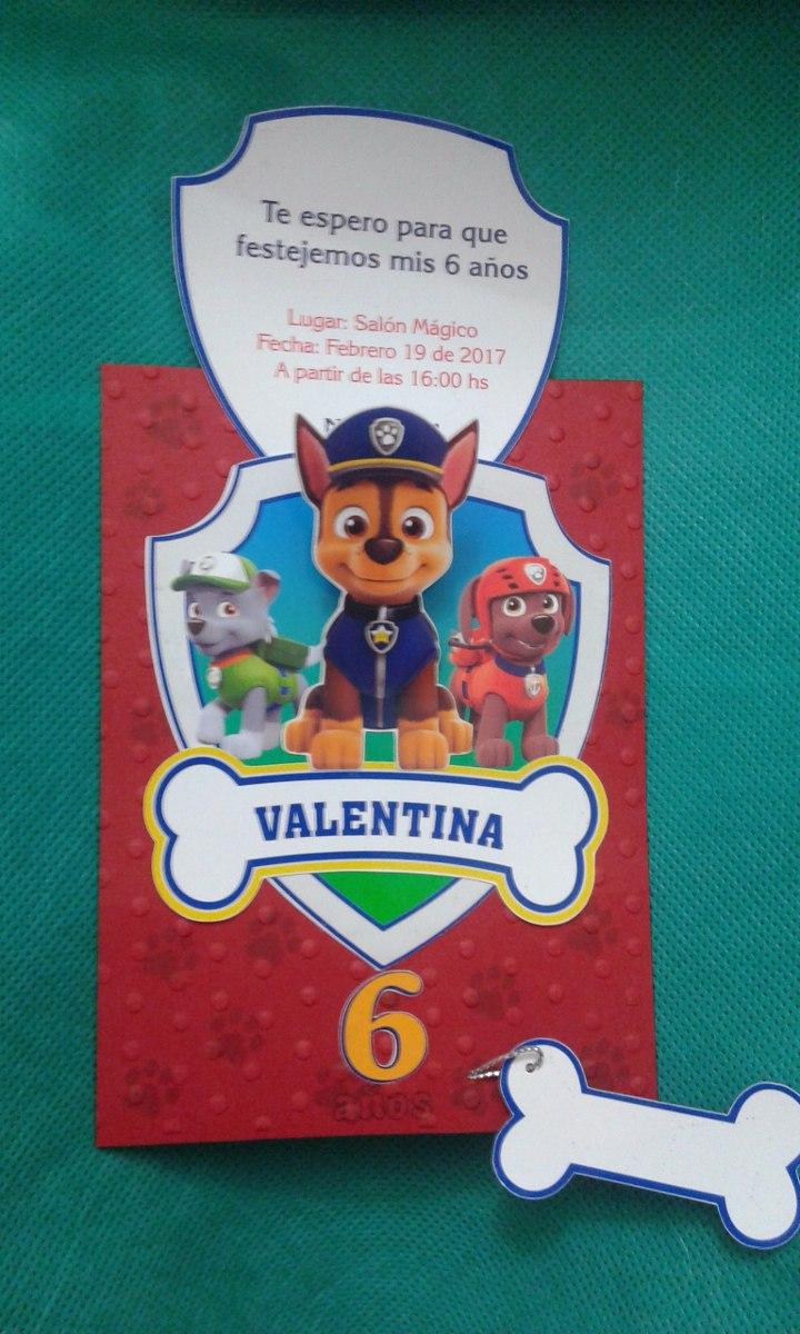 Tarjeta Invitación Paw Patrol 3d
