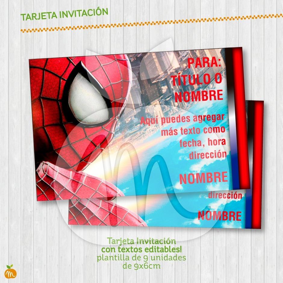 Tarjeta Invitación Textos Editables Fiesta Hombre Araña