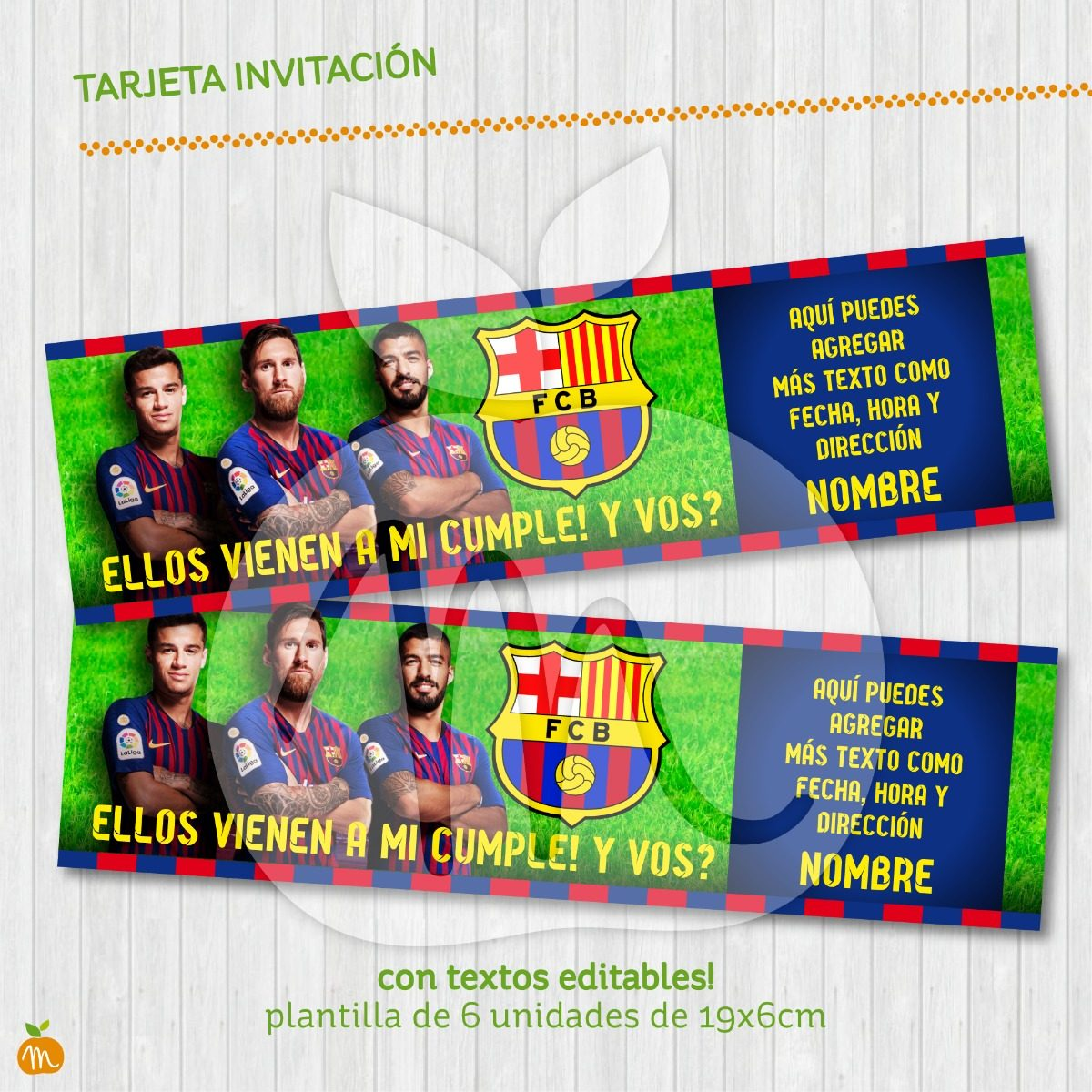 Tarjeta Invitacion Txt Editable Fútbol Barcelona Cumpleaños