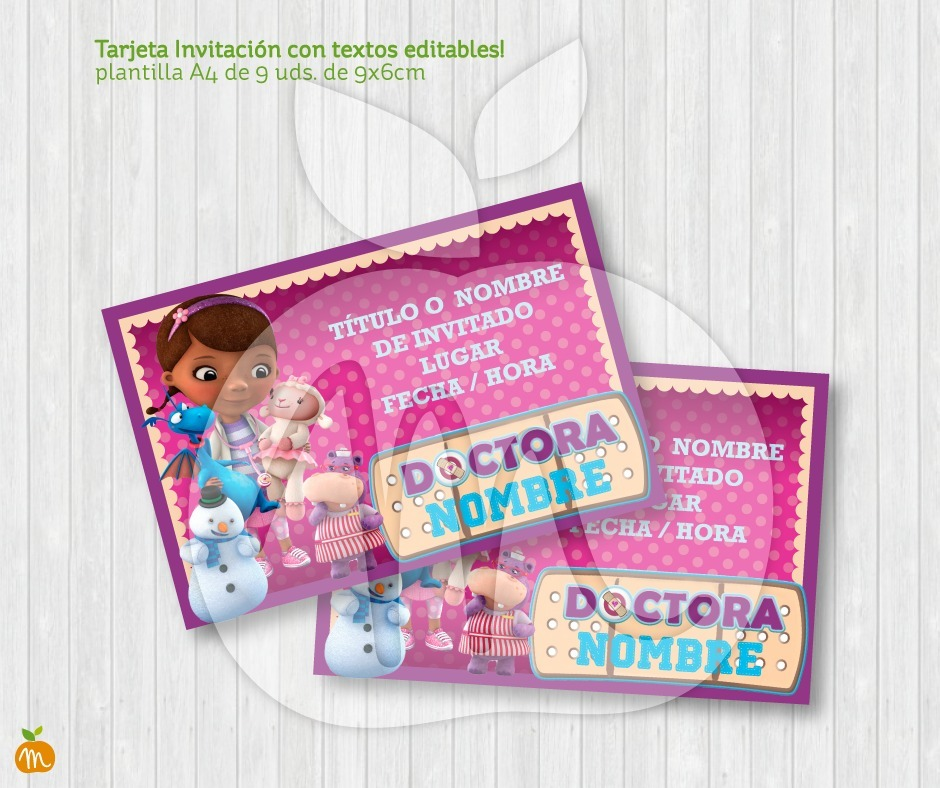 Tarjeta Invitación Txt Editables Cumpleaños Doctora Juguetes
