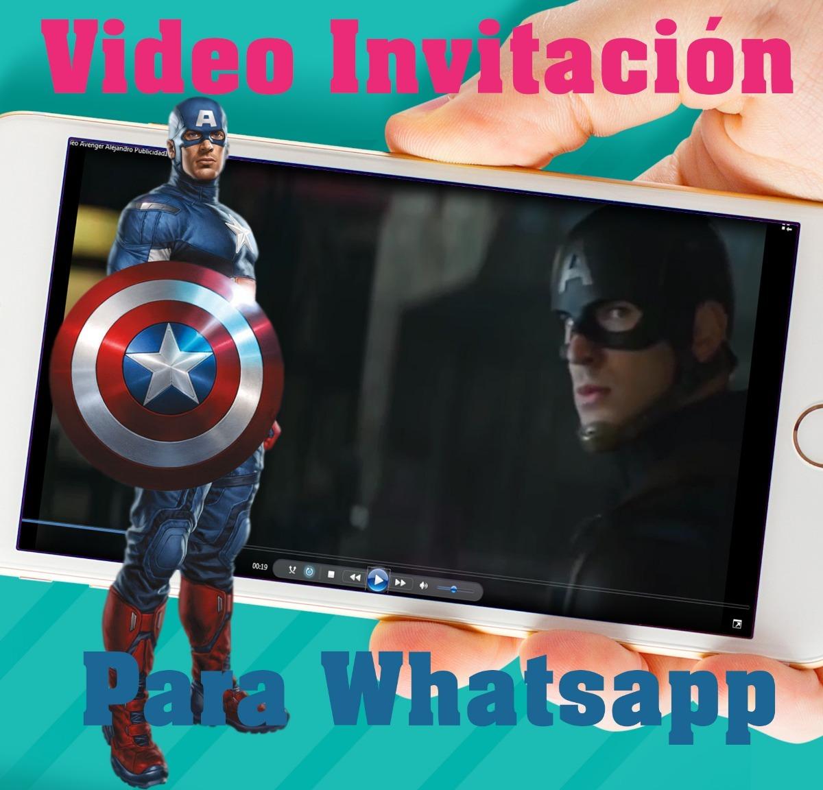 Tarjeta Invitación Vídeo Vengadores Avenger Capitan America