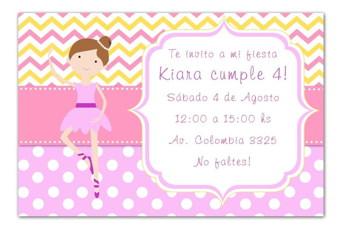 Tarjetas Cumpleaños Infantil Personalizadas Bailarina Ballet