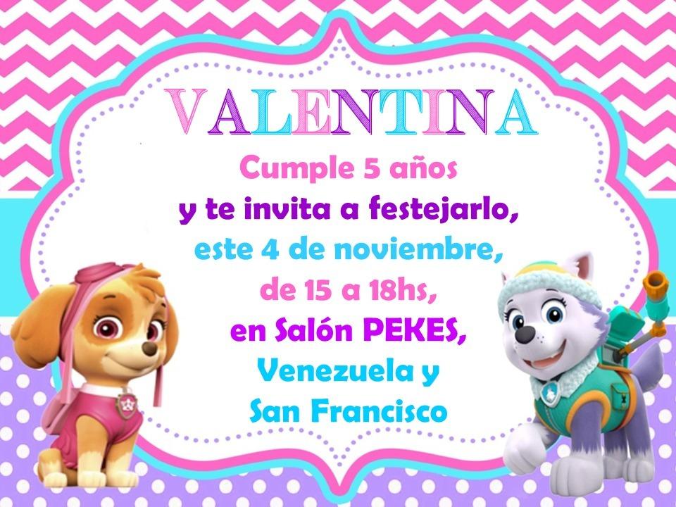 Tarjetas Invitación Cumple Patrulla Canina Nena Niña
