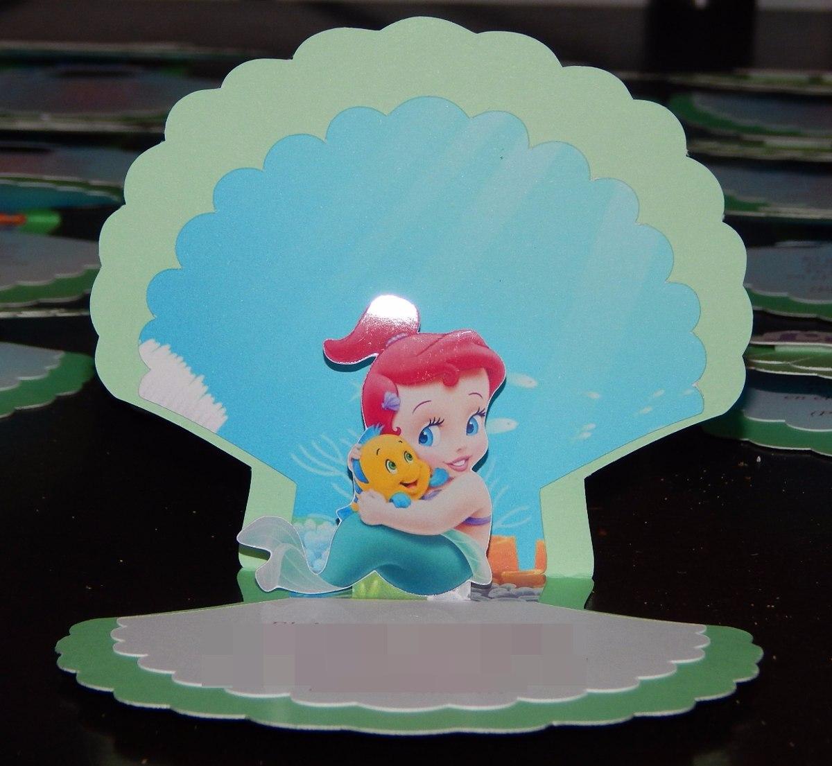 Tarjetas Invitaciones 3d Personalizadas La Sirenita