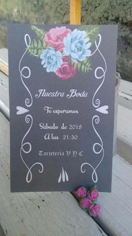 Tarjetas Invitaciones Boda 15 Flores Y Rayas Blanco Negro