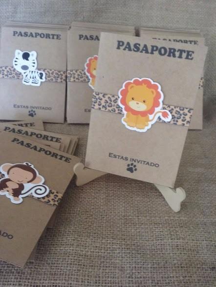 Tarjetas Invitaciones Pasaporte Safari Animales De La Selva