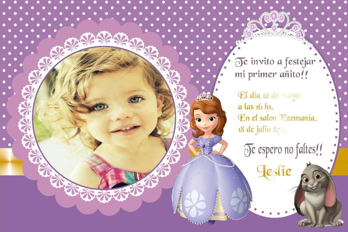 Tarjetas Invitaciones Princesa Sofía 10x15cm