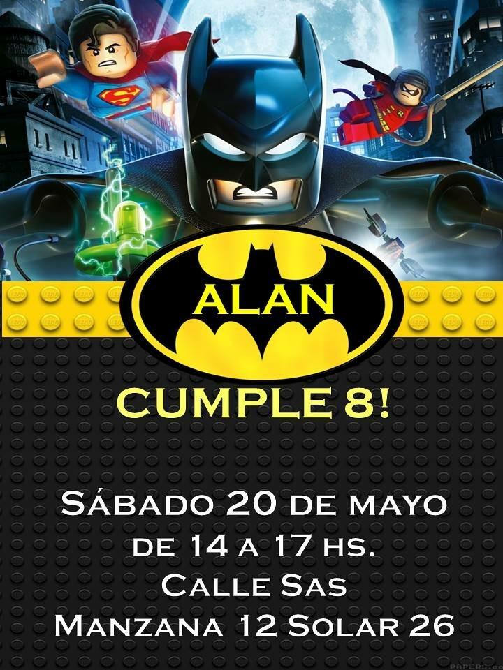 Tarjetitas Invitación Cumple Patrulla Patrol Lego Batman