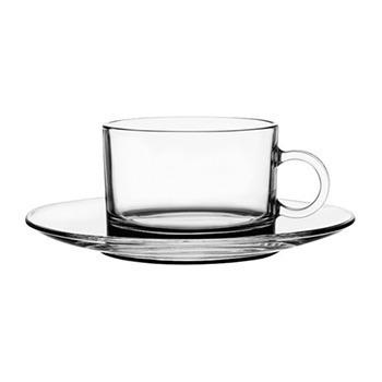 taza de café con plato en vidrio set x 4 95 cc turquía