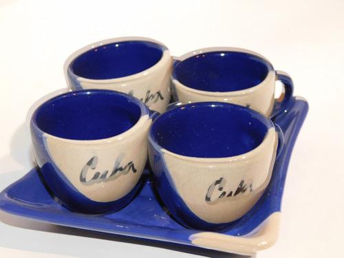 tazas  y plato de ceramica cuba (154)