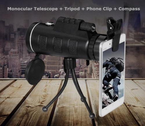 telescopio monocular con clip para teléfono hd
