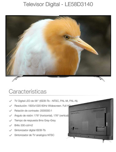televisor aoc 58 led full hd 1080p +más convertidor smart