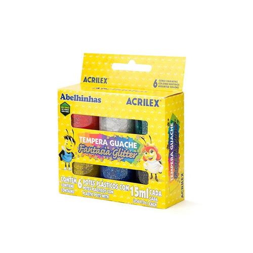 témpera acrilex con glitter 6 colores - mosca