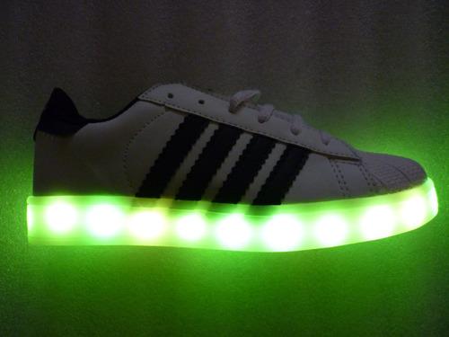 tenis led luces concha recargables varios colores niño, niña