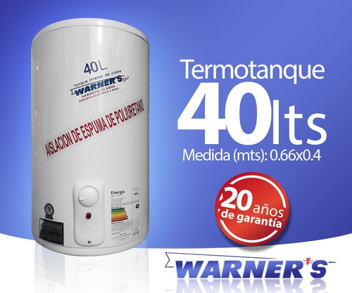 termotanque calefon tanque cobre 40 lts warners punion