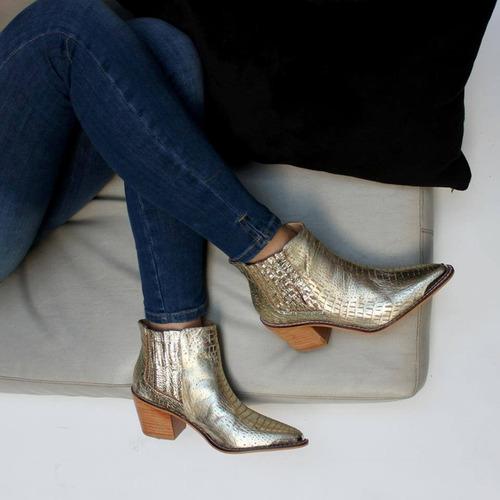 texanas botas botinetas con puntera de cuero vacuno