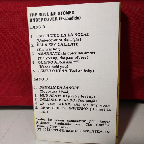 the rolling stones undercover (escondido) casete no cd rock
