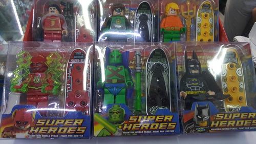 tipo lego super heroes 6 personajes altura 8cms