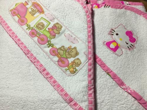 toalla bebé con capucha hello kity y mas
