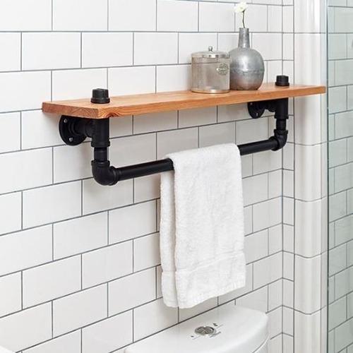 toalleros baño con  repisa varios modelos rustico industrial