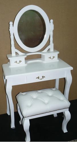 tocador-dressoire provenzal romántico con banco tapizado