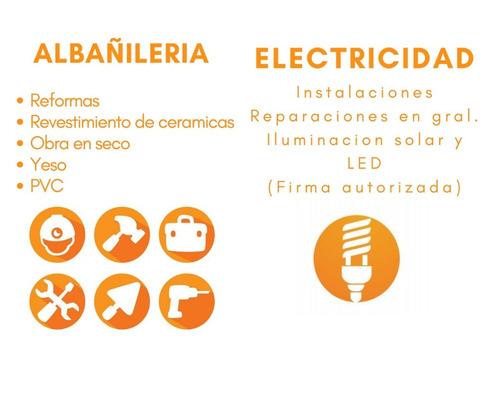 trabajos en albañilería,albañil,electricistas,cielorrasos pv