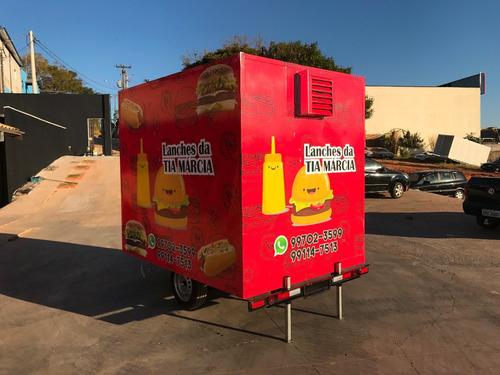 trailer 2,5m x 1,8m  inox e alumínio foodtruck homologado