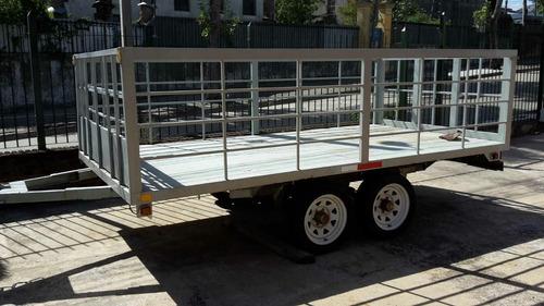 trailer 4 x 2 metros con freno doble eje barandas excelente