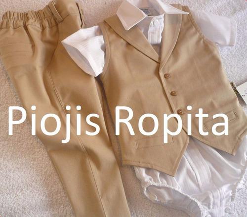 traje bebe bautismo fiesta beige pantalon de vestir y chalec