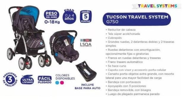 20a402a8d Travel System Infanti Tucson G750 Coche Cuna + Silla De Auto - U$S ...