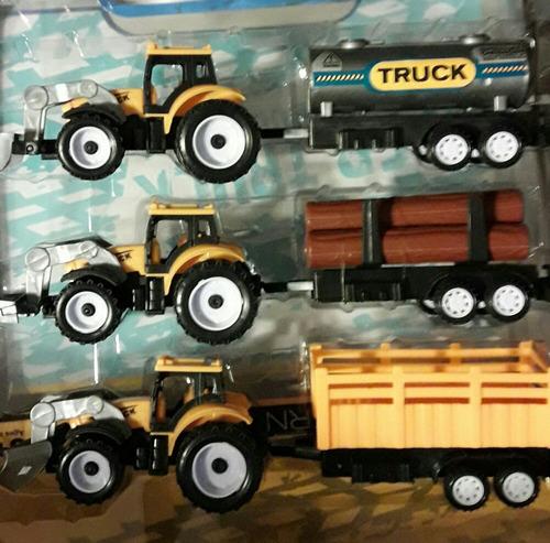 tres tractores con trailer total 21cm articulo nuevo     m.p
