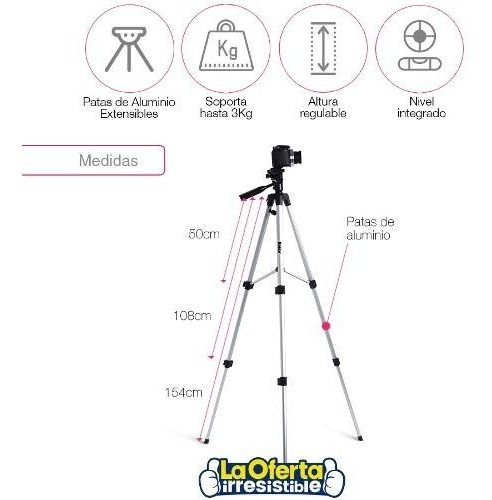 tripode aluminio 154cm para cámara y filmadora con bolso loi