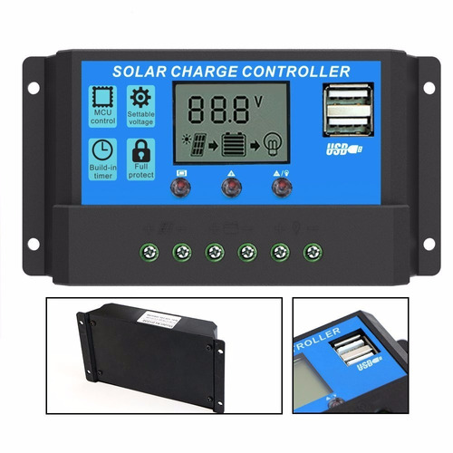 trisol regulador controlador de carga solar 12/24v 20a + usb