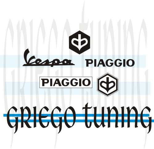 tun adhesivo en vinilo alemán  vespa-piaggio  5 piez