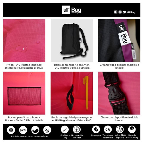 ull bag - puff / sofá inflable - negro