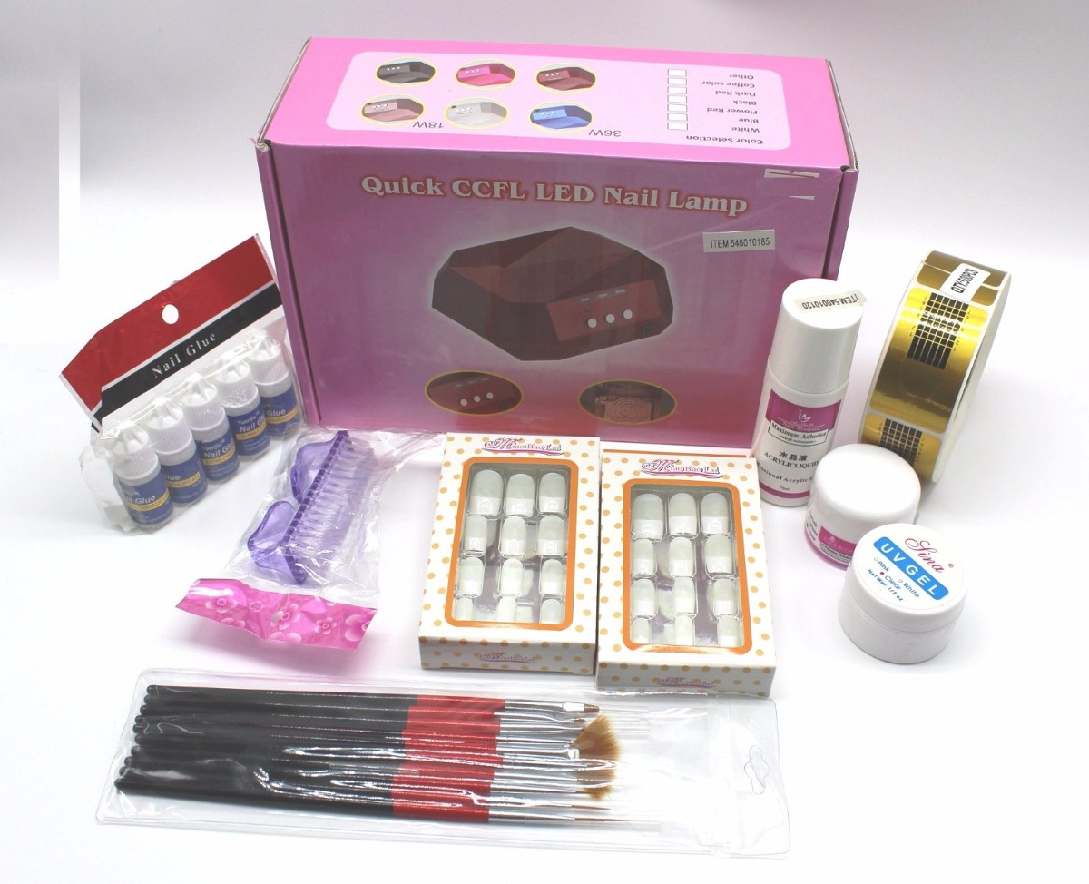 Uñas Acrilicas Kit Completo Incluye Lampara Uv Profesional