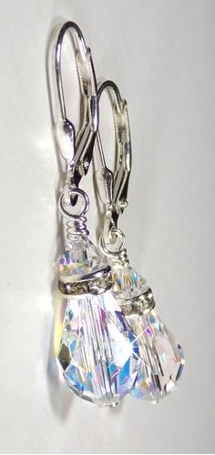 únicos aros peardrop ab cristal real swarovski elements