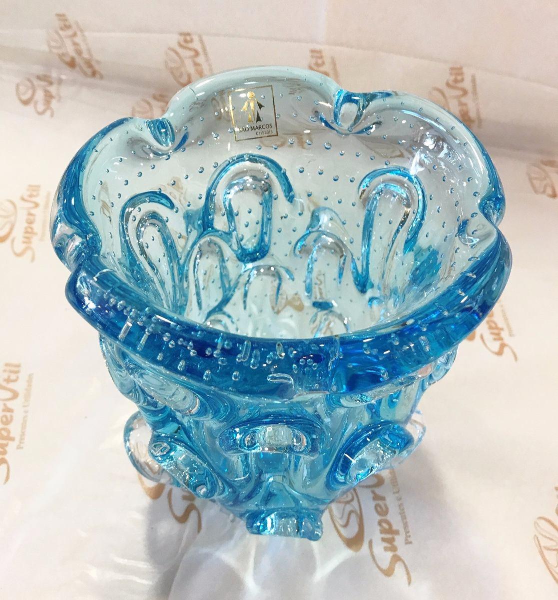 Vaso murano 18x15cm azul piscina cristais sao marcos r for Vaso piscina