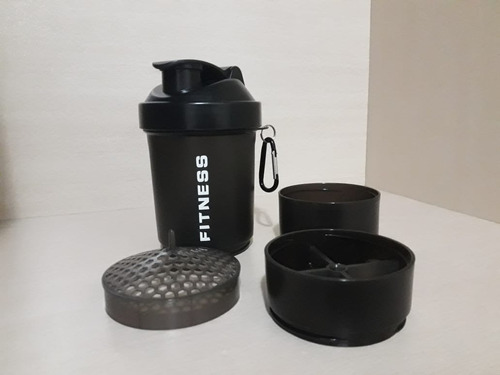 vaso shaker mezclador botell deportiva whey con divisiones