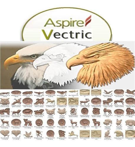 vectric aspire + clipart vectores + librerías + full cnc