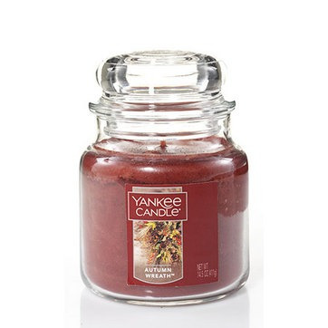 vela aromática medium jar autumn wreath yankee candle