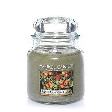 vela aromática medium jar bay leaf wreath yankee candle