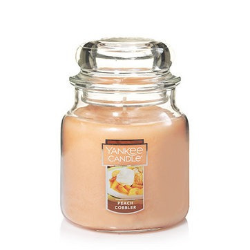 vela aromática medium jar peach cobbler yankee candle