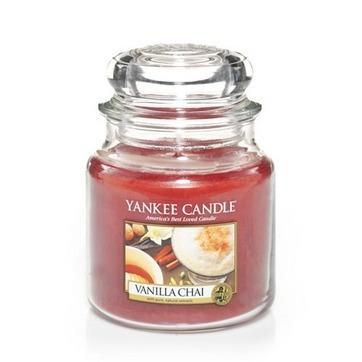vela aromática medium jar vanilla chai yankee candle