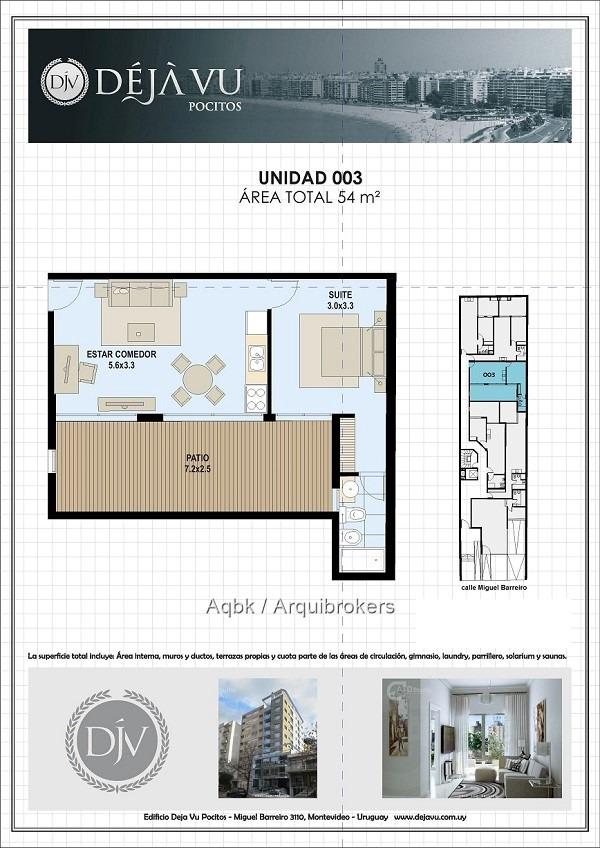 venta de apartamento de 1 dormitorio con patio en pocitos